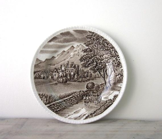 Brown and White English China Transferware Plate