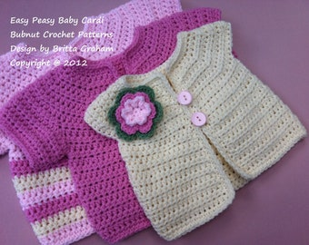Crochet Baby Jacket Pattern - Easy Peasy Cardigan Crochet Pattern No.907 THREE Baby Sizes Digital Download