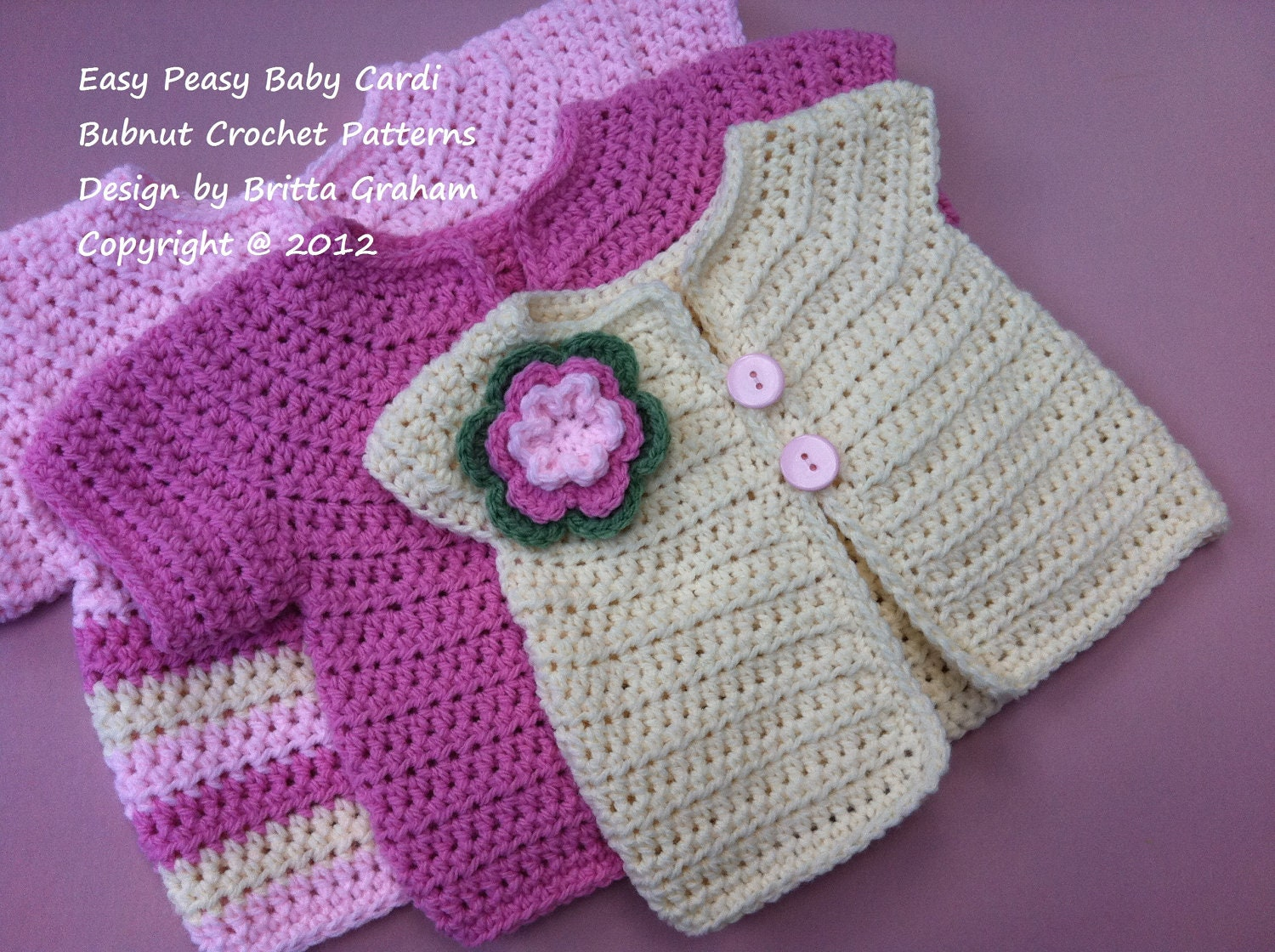 Crochet Baby Jacket Pattern Easy Peasy Cardigan by bubnutPatterns