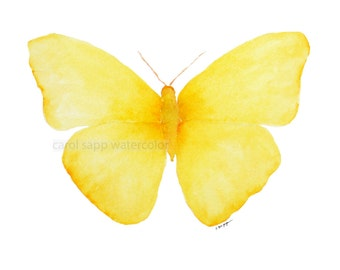 yellow butterfly painting archival  print