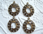 Antique brass 12x10mm lace setting lot of (4) - MF168