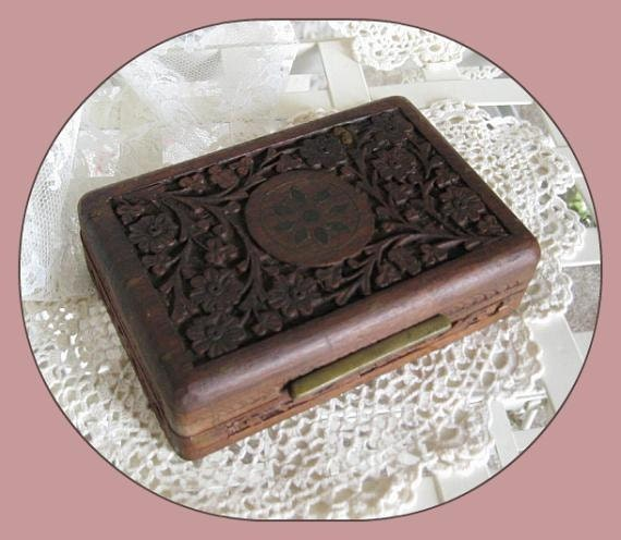 Vintage Hand Carved Wood, Jewelry Box, Wood Box, Trinket Box, Keepsake Box,  Wooden Box, Carved Box, Wood Carving, Inlaid, Gift Home Decor