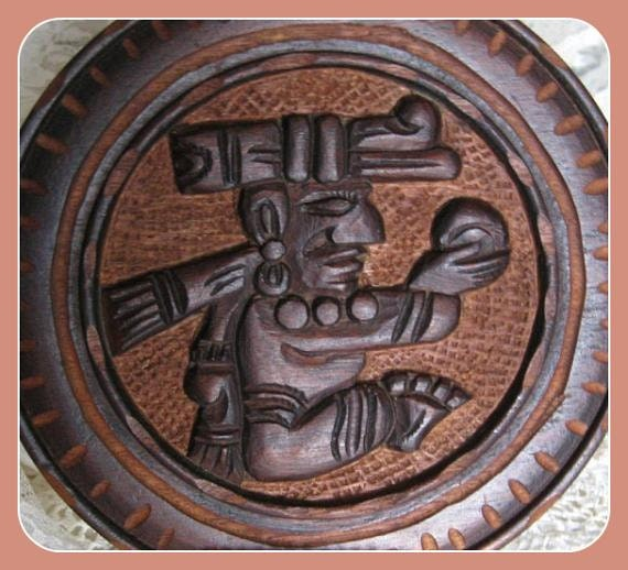 Hand Carved Wood Plaque Wooden Wall Art Mexico Aztec Peru