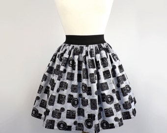 Black and Gray Retro Cameras Aline Skirt
