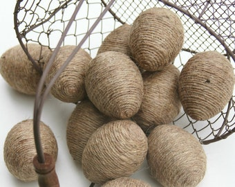 Jute Twine Eggs, One Dozen, In Natural Twine, Bowl or Basket Fillers, Spring Decoration, Easter Decor, Kitchen