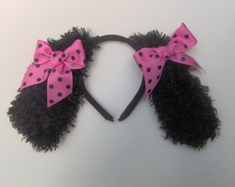 Black and Pink Polka Dot Poodle Ears Made to Order
