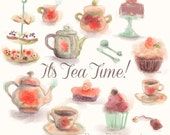 Tea Time and Cupcake Watercolor Clipart for personal and commercial use - Dessert Cookies Cooking Food Tart Pie Sandwich Kettle Cup Clip art