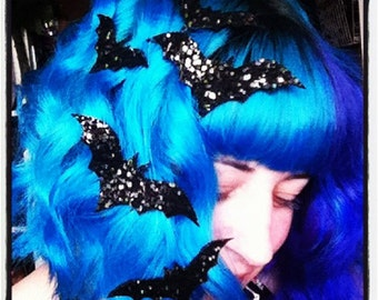 Bat Hair Adornments, Halloween Accessory, Glitter