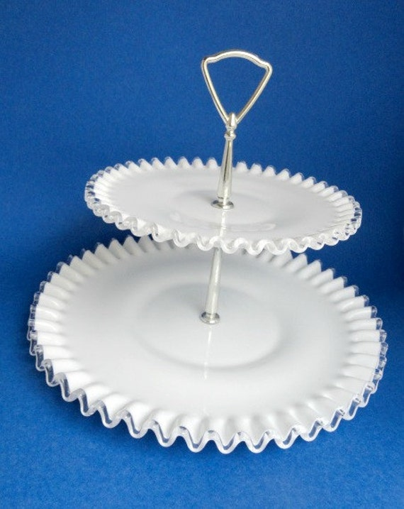 Fenton Two Tiered Milk Glass Plate Stand Wedding Party
