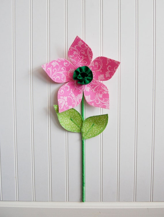 fabric flower. wall flower. 3d wall decor. scrolls and acanthus leaf. pink