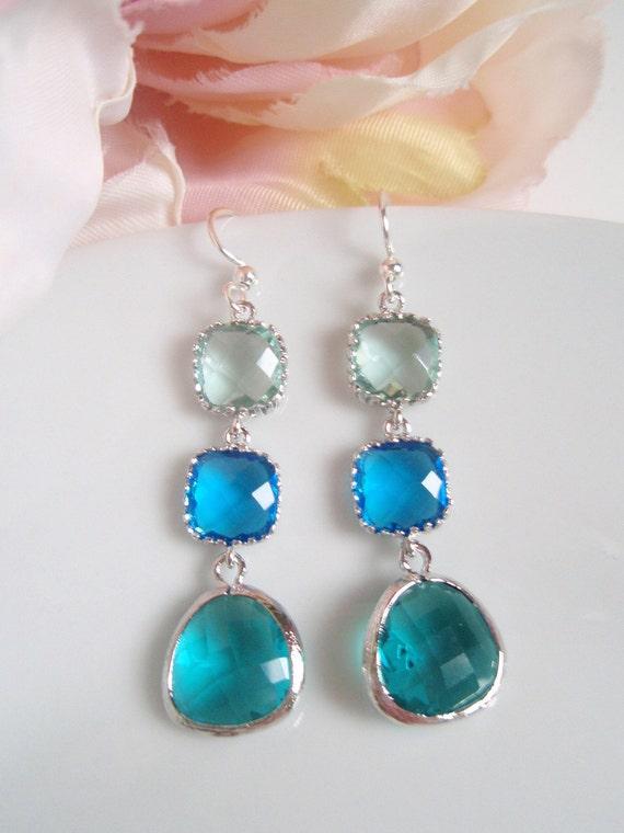 White Gold Framed - Triple Drop - Prasiolite Sea Green and Capri Blue - Czech Glass Earrings