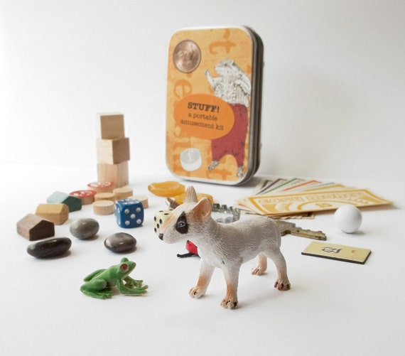 Children's gift set // tiny toys with small dog and frog in a little tin box // a unique gift for imaginative children