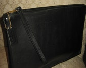 Vintage Coach Clutch Bag/Made NYC 1980s Era/ Portfolio Case /Black Leather Retro Chic Preppy Style/FREE Handbag COVER
