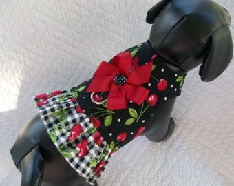 Dog Harness Cherries and Gingham Black and Red  Harness Vest for Girl Dog Custom Made