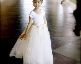 Flower Girl full length tutu skirt with satin lining and ribbon sash waist. Sewn, no tied knots.