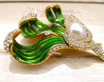Vintage Maresca Brand Green Enamel and Rhinestone Leaf Brooch
