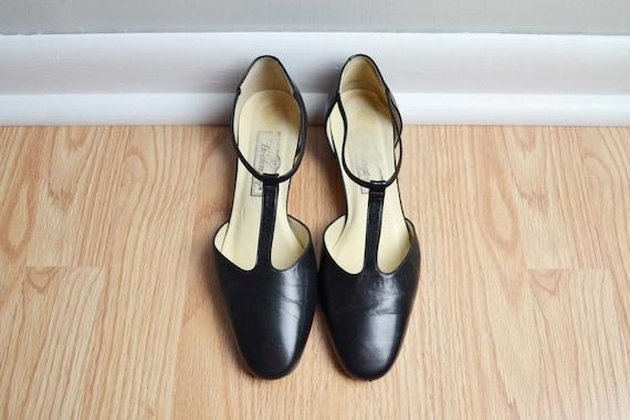 Shoes Heels Mary Jane T Strap Mod Kitten Leather Black Vintage 7.5