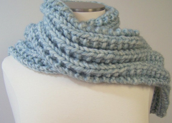 Long Chunky Ribbed Luxury Knit Scarf in Blue Sky Wool