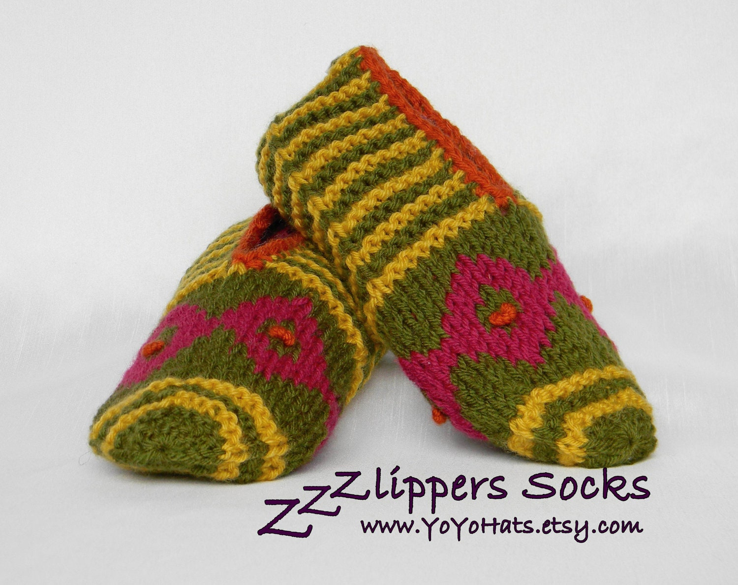 READY TO SHIP Hand Knitted Slipper Socks Knit Adult By YoYohats