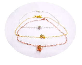 Star Anklet, Rose Gold, Gold, Silver Tiny Star Anklet, Chain Ankle Bracelet - Your choice of color