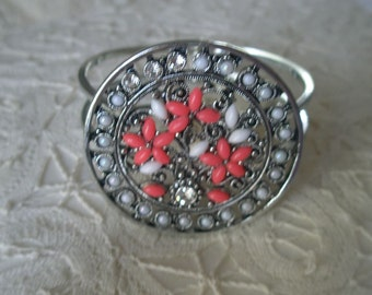 Vintage Beaded Silver Tone Spring Cuff Bracelet