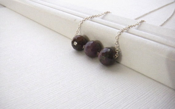 Zoster Ruby Necklace Trapeze necklace beaded necklace Ruby necklace Sterling Silver Necklace