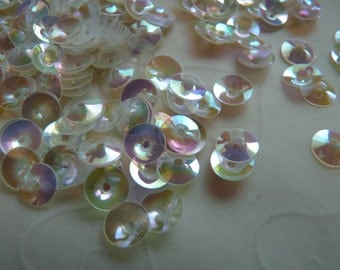 New Item, Bridal Wedding Gown Sequins -- 7g of 6 mm Cupped Round Sequins in Peral Iridescent Color