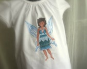 Whimsical Fairy Tee with Wings - Water Fairy Laila with Appliqued Irridescent Wings on Back for Girls