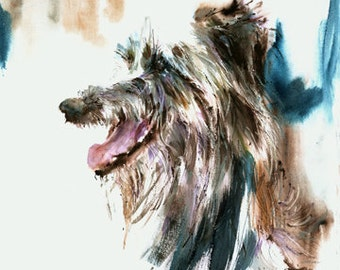 Single Head, Scottish Deerhound.  Watercolor dog Print Signed by the artist, Carol Ratafia. Double Matted to 16x20