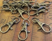 10 - Extra Large Swivel Clasps - Claw Clasps - Parrot - Antique Bronze - XLarge (ELSCAB)