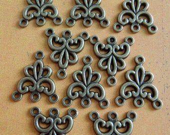 10 Fancy Necklace Links - Antique bronze Connectors - Filagree - Filigree Links (FFL)