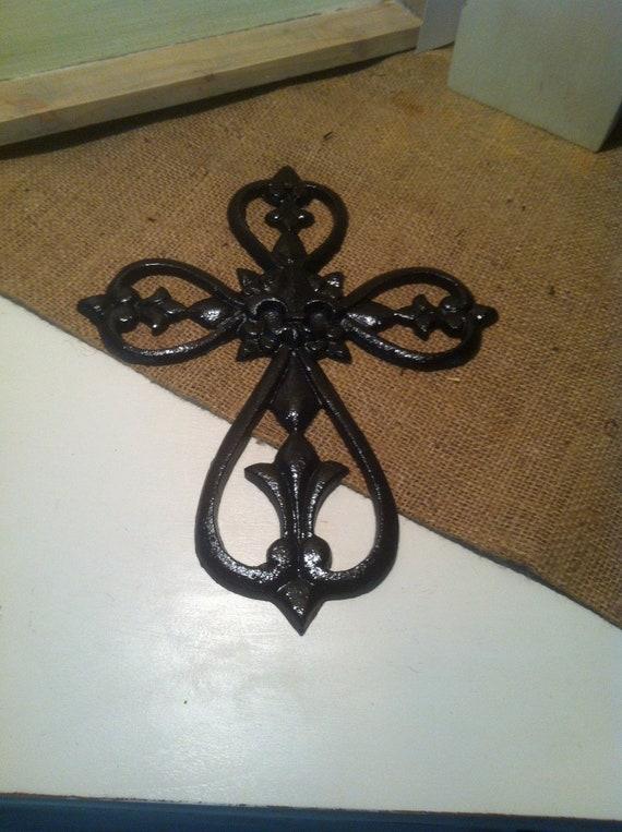 Black cross wall decor : Items similar to black cast iron wall cross decor
