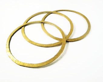 24ct gold plated bronze bangle bracelets hammered- set of 3