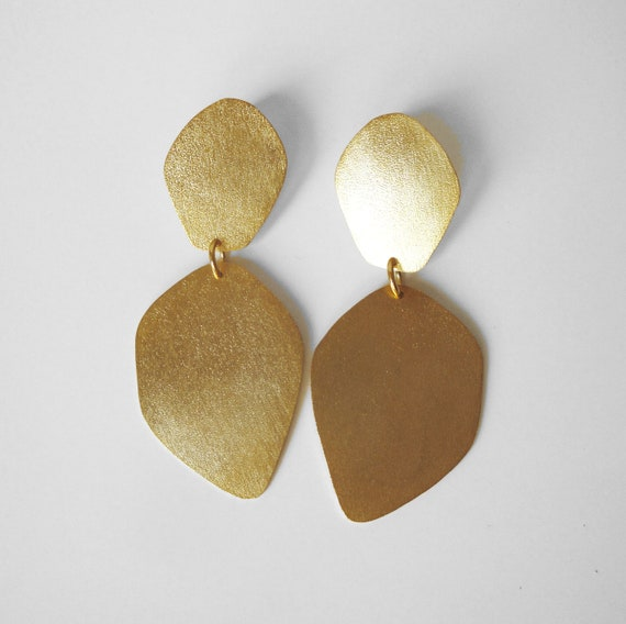 24ct gold plated earrings double petals organic form