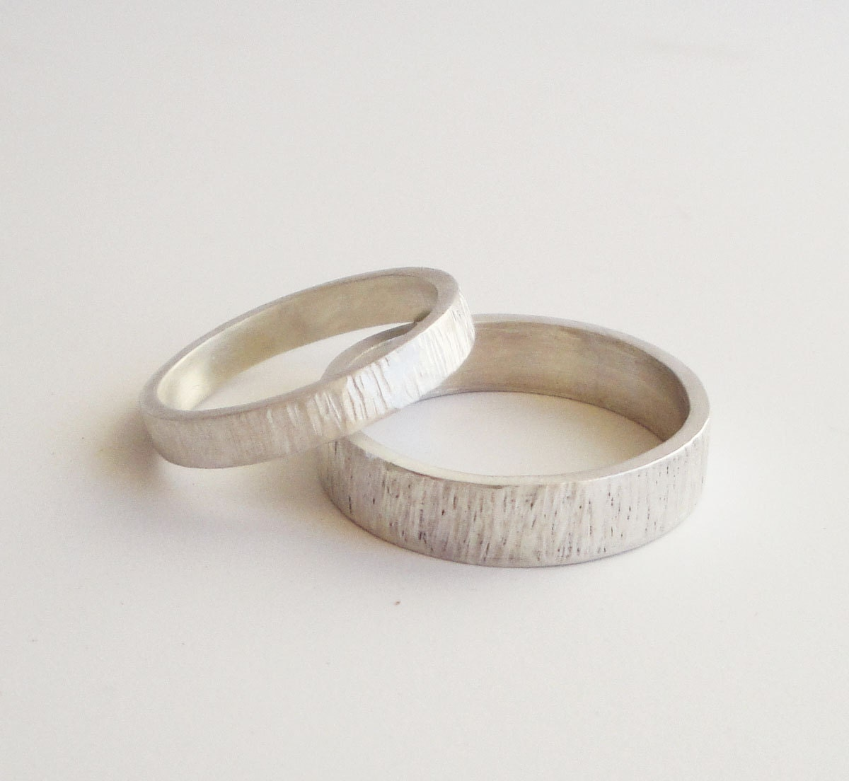 Simple Wedding Rings Set Handmade Hammered Sterling Silver