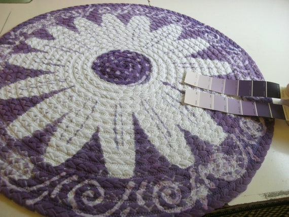 "READY TO SHIP 30"" lavender/purple daisy rug made from reclaimed t shirts"