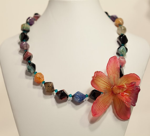 Real Orchid and Multi-Colored Agate Necklace