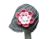 Girls newsboy hat with two flower hat clips - 3 in 1 hat - detachable flowers - Made to order pick any color and size