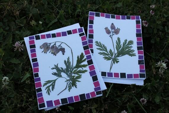 set of 2 Bleeding Heart Cards  Pressed Flower Art