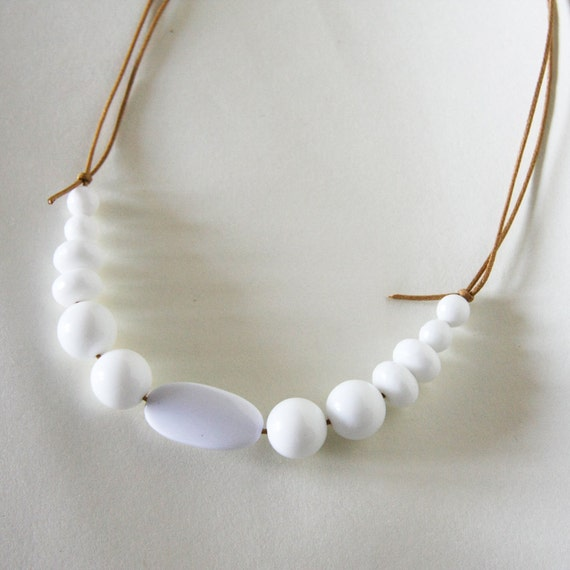 so white - necklace - white stone glass and resin beads with waxed cotton - minimal spring summer modern