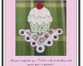 Cupcake Applique  Pattern for Tea Towel