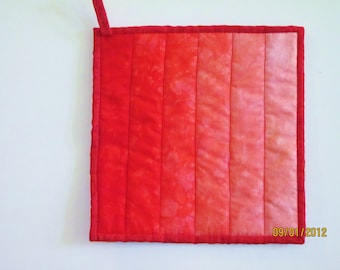 Potholder -- Ombre in Hand Dyed Shades of Bright Red to Pale Pinkish Orange