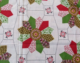 Vintage Cheater Cloth Quilt Pattern Full Feedsack - Cotton Print Fabric