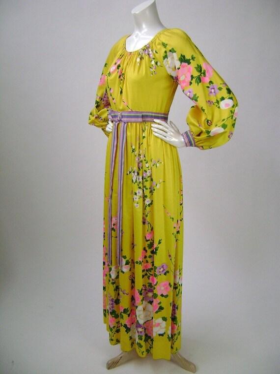 70s Maxi Dress Long Dress Prom Dress Yellow Floral