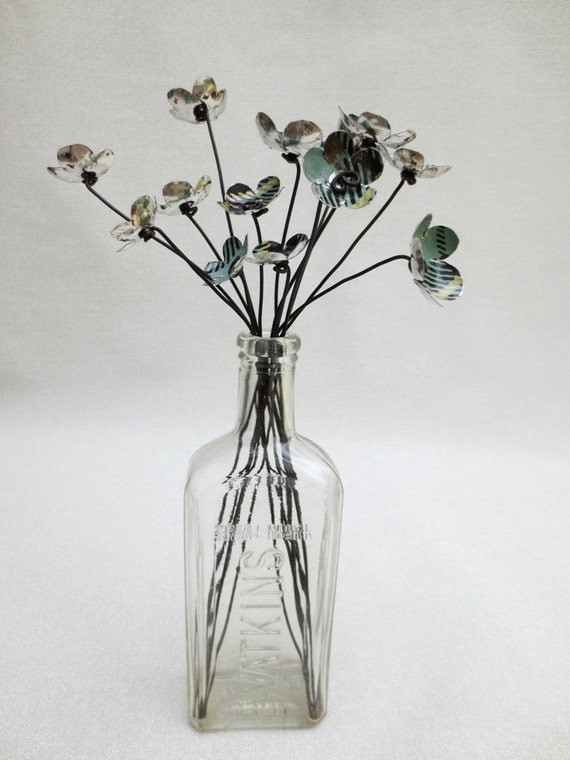 Funky Green Plaid Metal Blossoms In Repurposed Rustic Flowers Bouquet