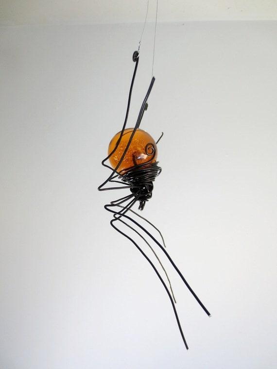 Orange Sun Catcher Window Spider Hanging Art