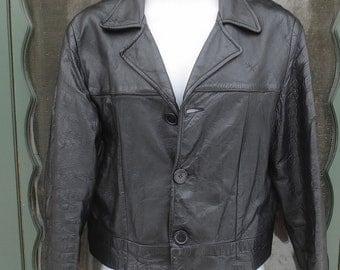 Vintage 1980's Asymmetrical Man's Black Leather Jacket w/Cropped Waist