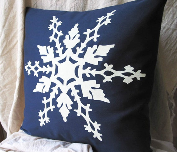 Snowflake Pillow Cover 18 Inch Washable Christmas Decor