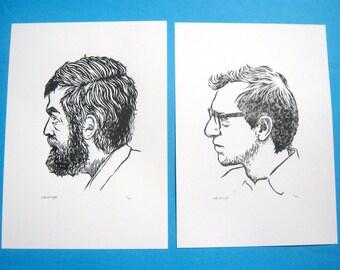 Stanley Kubrick and Woody Allen linocut prints