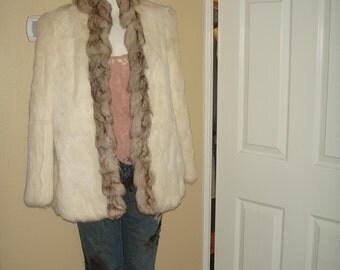 SALE Vintage 1980's Oversized Ivory  Rabbit Fur Coat Medium SALE